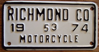 VIRGINIA, RICHMOND COUNTY 1974 ---MOTORCYCLE plate