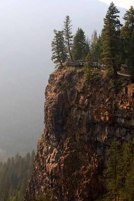 Viewpoint in a smoke filled valley near Spahats Creek Falls, Wells Gray Provincial Park
