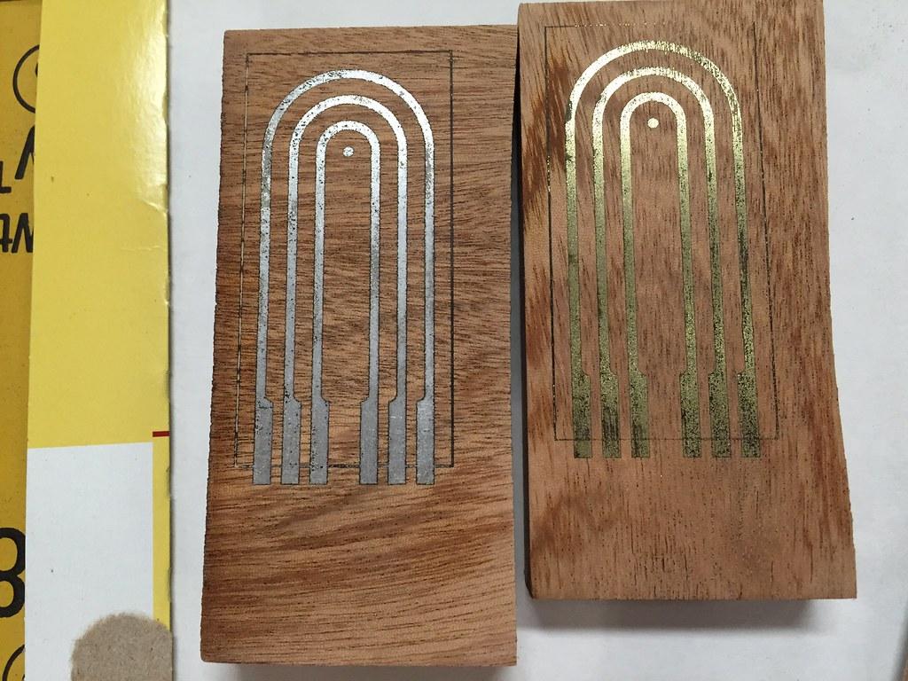 Metal inlay powder on wood