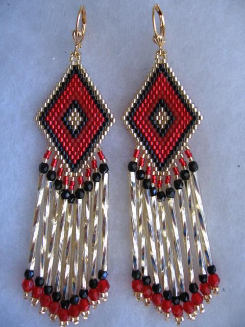 Beadwoven Earrings - Red