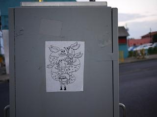 Cartoon paste-up // East Austin