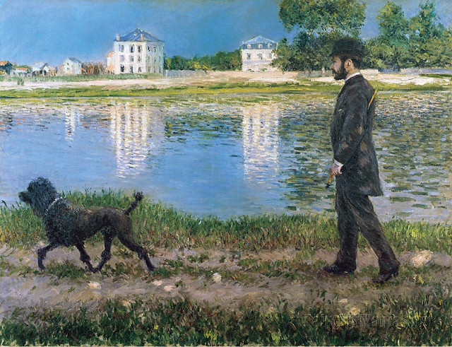 Caillebotte - Richard Gallo and his dog at Petit Gennevilliers [1884]