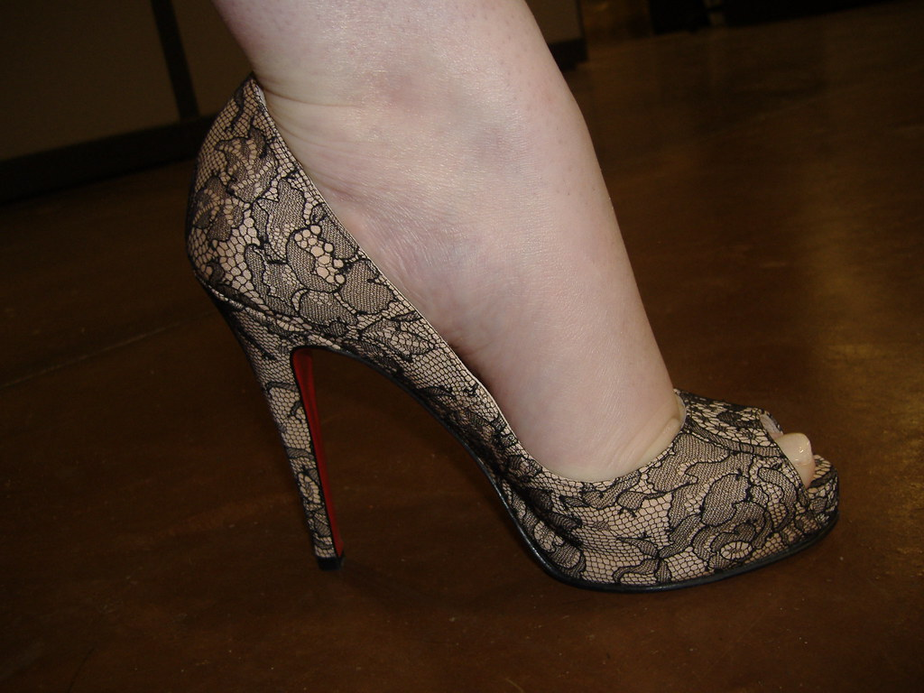 b3cca276e9c Christian Louboutin Very Prive Peep-toes nude crepe and la… | Flickr