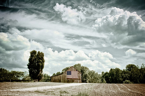 road blue trees red cloud white tree barn rural america photoshop vintage landscape landscapes cloudy farm flag sony maryland prince dirt adobe american alpha 2009 frederick lightroom a700 dslra700