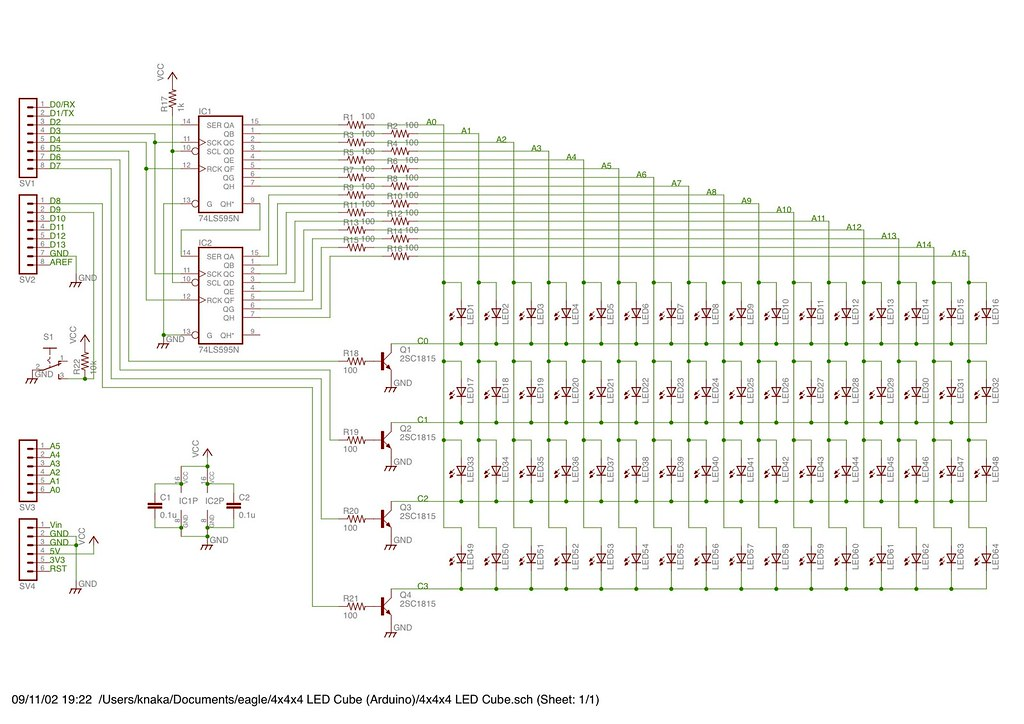 Fabulous 4X4X4 Led Cube Schematic Of 4X4X4 Led Cube Shield For Ardu Wiring 101 Dicthateforg