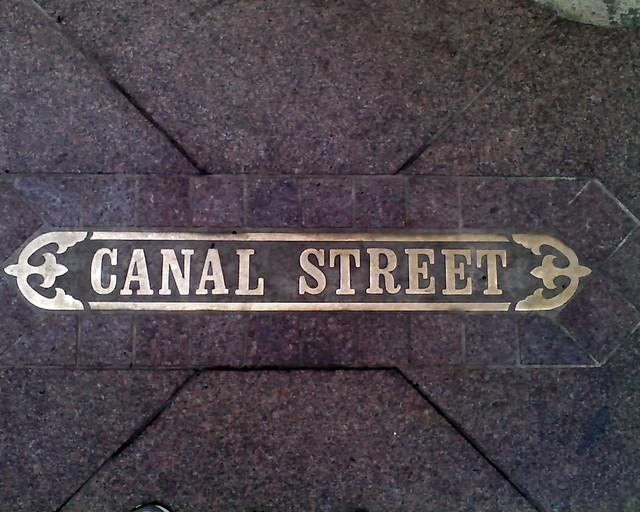 Sidewalk Street Name: Canal Street, New Orleans