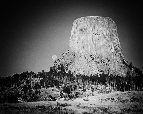 Devil's Tower National Monument, Wyoming. High ISO FILM - see the moon?! | by road triper