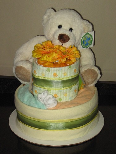 Cuddle Bear Diaper Cake 30 Huggies Diapers Size One