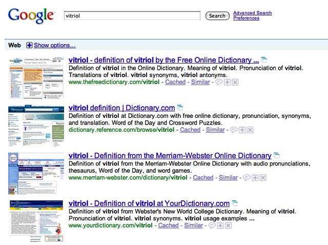 Vitriol | Not one popular dictionary site does the right thi