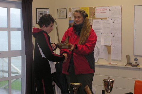 Andrew Coffin receiving prize from Chantal Grass   by PLSC (Panmure Lagoon Sailing Club)