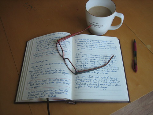journal, glasses, coffee, pen | by JimileeK