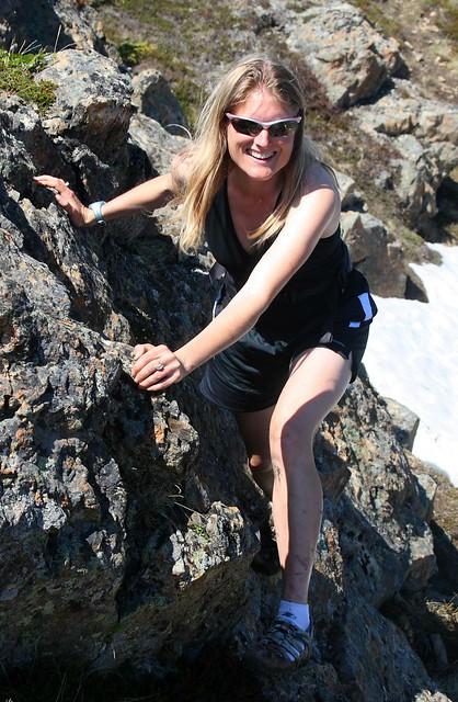 Lovely Alaskan lass on the rocks