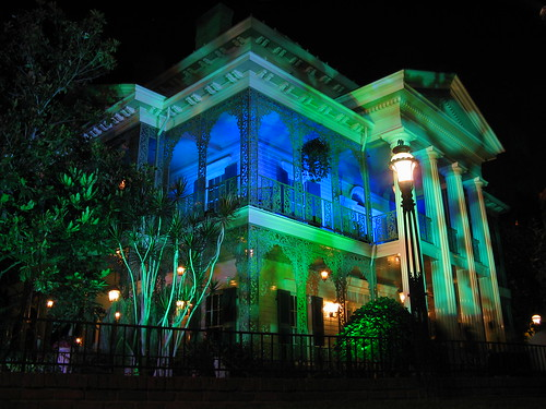 Haunted Mansion lighted in Blue and Green, Disneyland, California | by Mastery of Maps