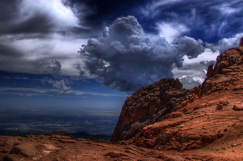 pikespeak mountain colorado 200908 clouds coloradosprings landscape nature rocks summit fourteener rockymountains elpasocounty sky overlook view scenery