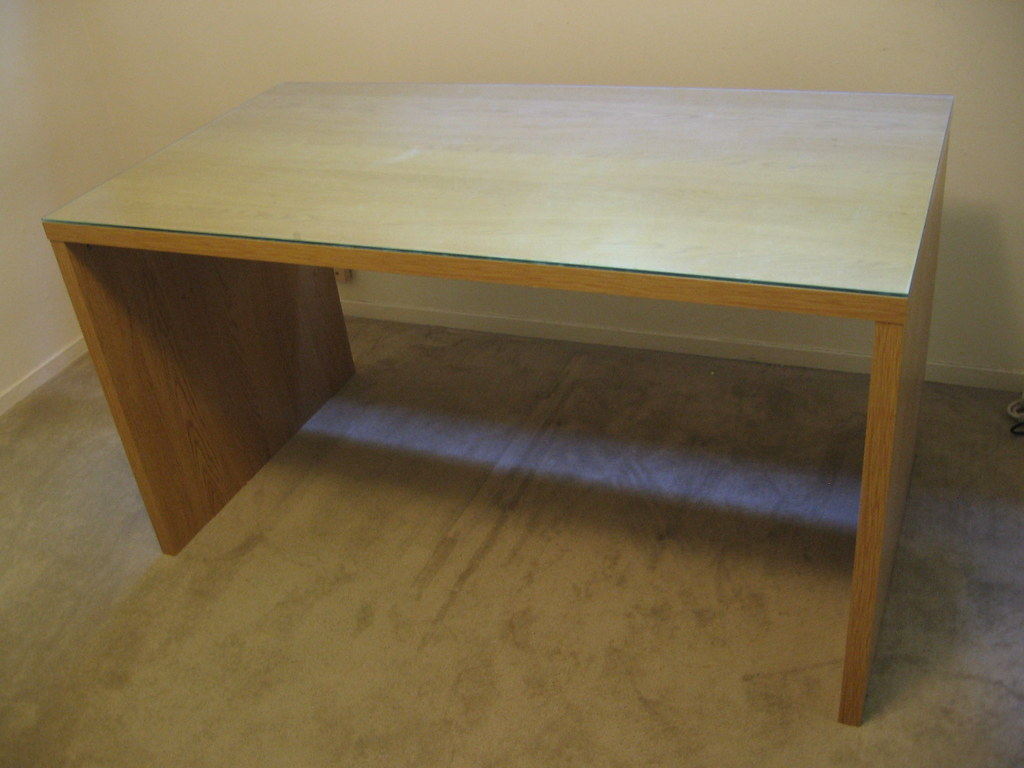 Ikea Mikael Desk With Glass Top Color Birch In Very Clea