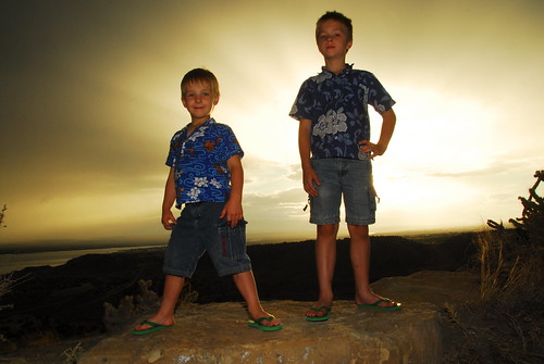 sunset cliff lake boys point liberty colorado rocks pueblo posing shirts hero winner flipflops hawaiian