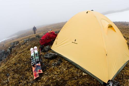 Thu, 2009-06-11 08:05 - Matt Hage at high camp to make the first ski descent of Mount Chamberlin (9,020') the highest peak in the Brooks Range, Arctic National Wildlife Refuge, Alaska.