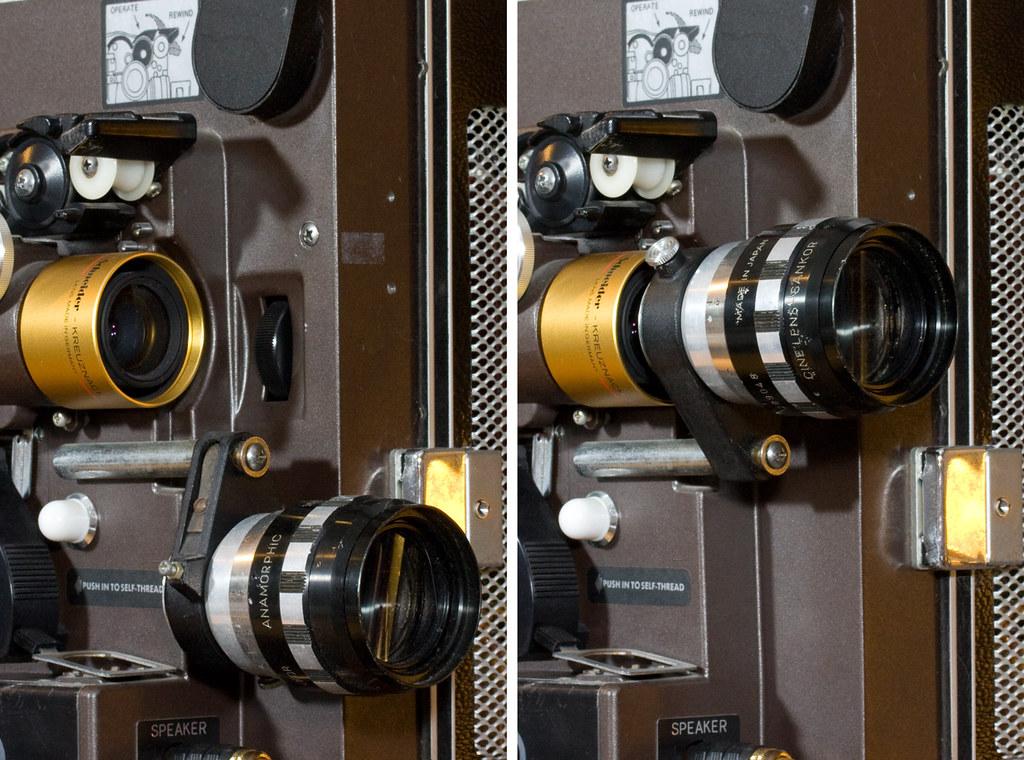 Eiki 16mm movie projector anamorphic lens holder | Flickr