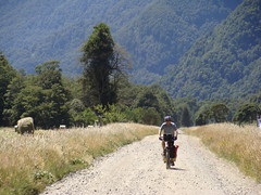 Randy riding the rough dirt road toward Lago Todos Los Santos in Chile