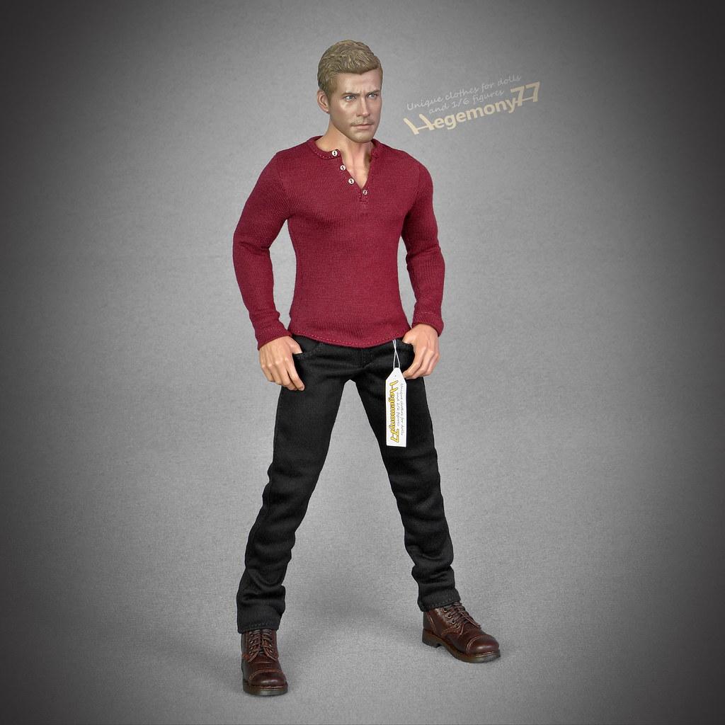1:6th Scale Black Shirt /& Pants