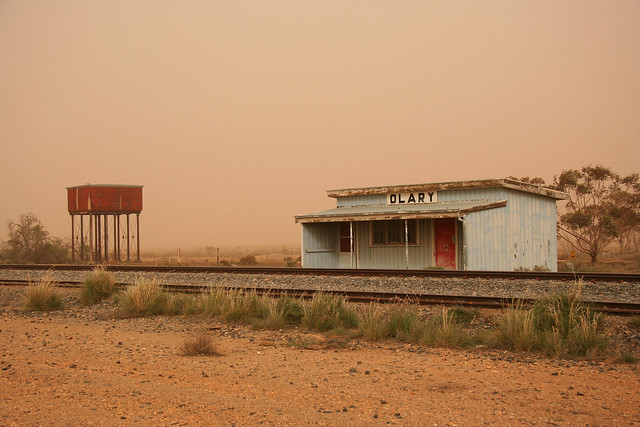 Olary railway station in duststorm