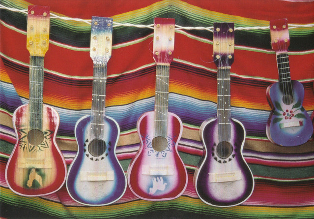 Colorful Guitars Postcard