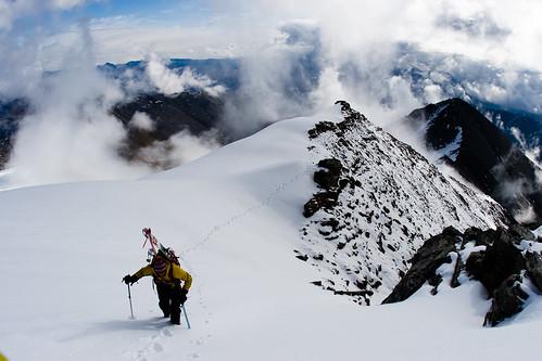 Sat, 2009-06-13 09:58 - Matt Hage climbing the east ridge of Mount Chamberlin to make the first ski descent, the highest peak in the Brooks Range, Arctic National Wildlife Refuge, Alaska.