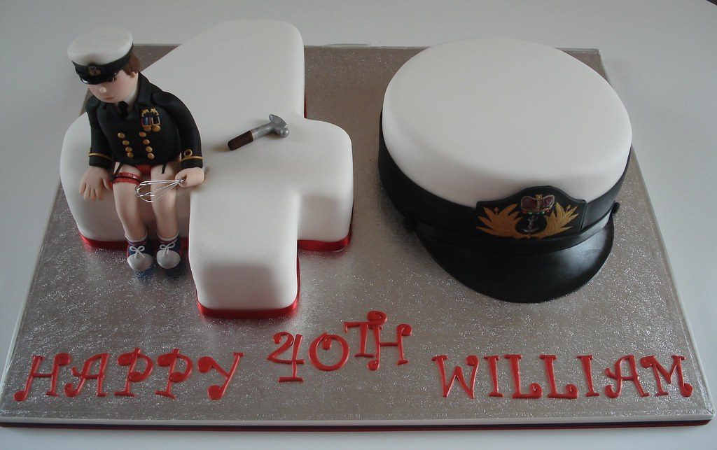 Astonishing Number 40 Birthday Cake This Cake Was For A Royal Navy Off Flickr Funny Birthday Cards Online Fluifree Goldxyz