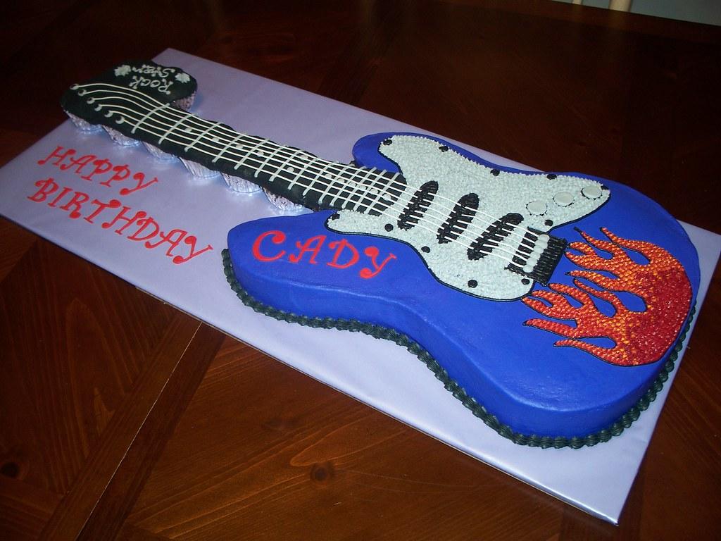 Astounding Electric Guitar Birthday Cake Jennifer Flickr Funny Birthday Cards Online Alyptdamsfinfo