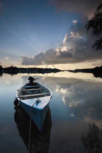 morning blue sunrise dawn bay harbor boat peace harbour peaceful calm stgeorges mangroves punt