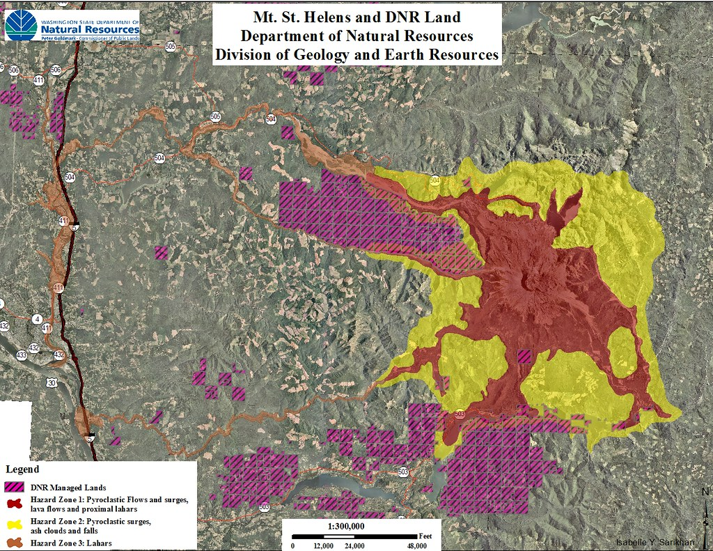 Mt. St. Helens Map of Hazards and DNR Managed Lands | Flickr Dnr Maps Washington on