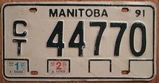 MANITOBA 1991 QUARTERLY COMMERCIAL TRUCK plate