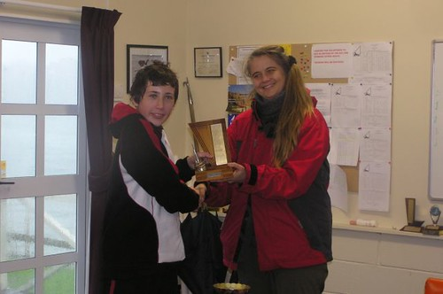 Andrew Coffin receiving prize from Chantal Grass | by PLSC (Panmure Lagoon Sailing Club)