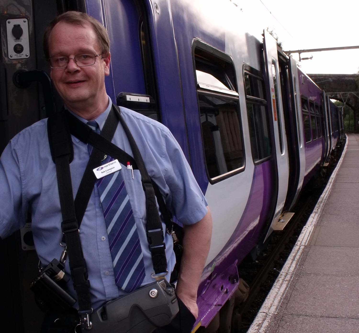 Rob Crompton,Guard 1843 HDF Hadfield Royston Vasey MAN Manchester Piccadilly electric train Northern Rail service,365days,hotpix!