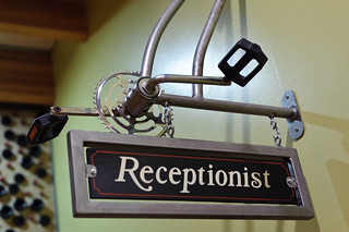 Bike Pedal Receptionist Sign @ New Belgium Brewery | by goingslowly