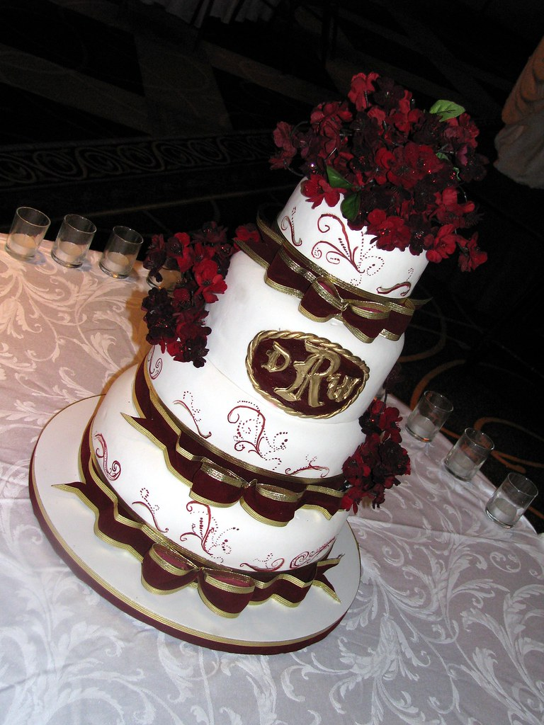 Burgundy And Gold Wedding Cake Sweet Confections Cakes Flickr