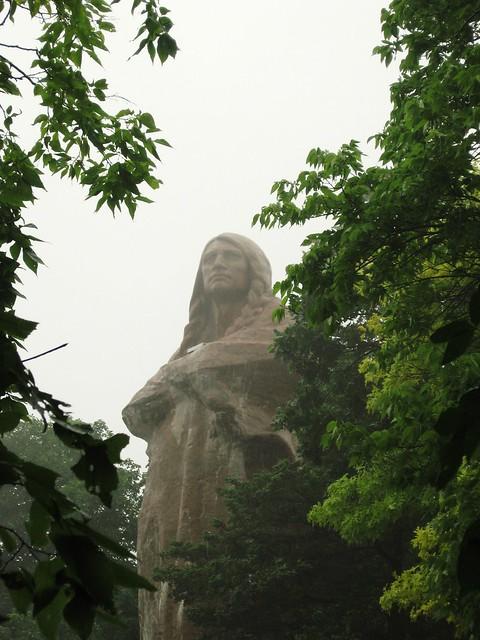 Blackhawk Statue in the rain