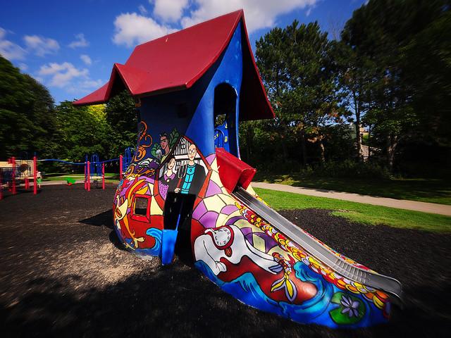Vilas Park Shoe Slide Has New Coat Of >> The Vilas Park Shoe Slide Has A New Coat Of Art Polish Flickr
