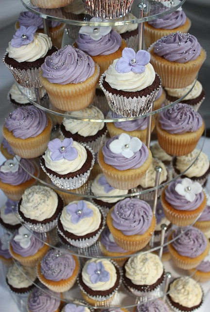 Lilac, White & Silver Wedding Cupcakes