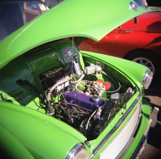 Morris Minor in very green green............with a dash of purple!
