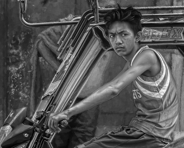 Tricycle driver street portrait