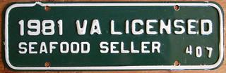 VIRGINIA 1981 LICENSED SEAFOOD SELLER plate