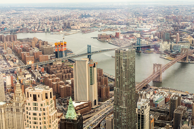 Three Bridges on the East River, New York City
