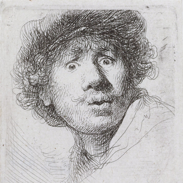 Rembrandt -  Self-portrait cat-20 - [1630] with beret, wide-eyed