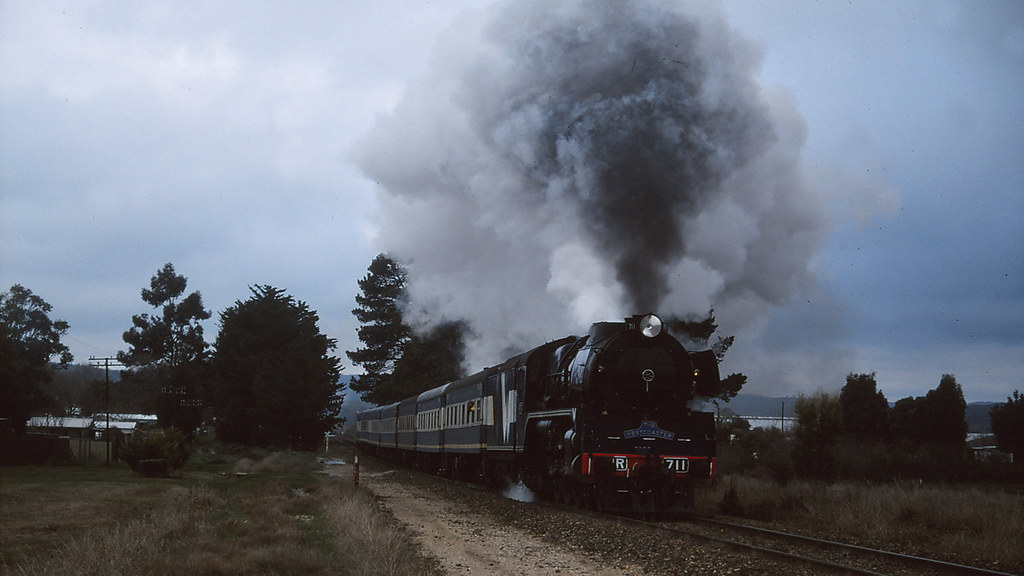 R711 storms uphill from Creswick station by michaelgreenhill