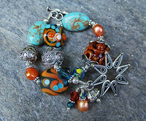 bali glass silver beads women crystals handmade turquoise jewelry pearls gifts bracelet handcrafted sterling swarovski lampwork artisan freshwater carnelian silverfishdesigns terrybelcher
