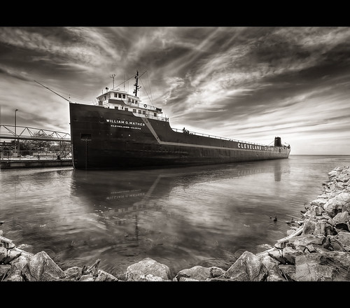 ohio sky lake water museum clouds reflections blackwhite rocks downtown ship lakeerie cleveland flor dramatic highcontrast steamship hdr breakwall freighter clevelandoh sigma1020mm d90 williamgmather tonemapped cuyahogacounty nikond90