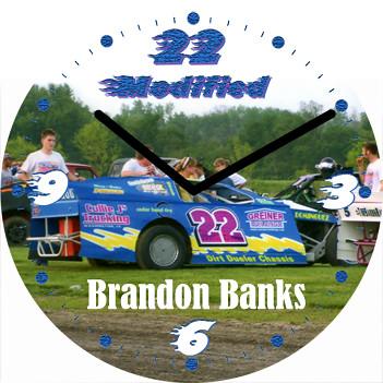 Brandon Stock Car Sport Clock | by customclockface