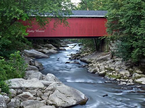 bridge bird heron nature creek landscape photography rocks pennsylvania coveredbridge slipperyrockcreek mcconnellsmillstatepark olympuse520 kathyweaver kdxweaver