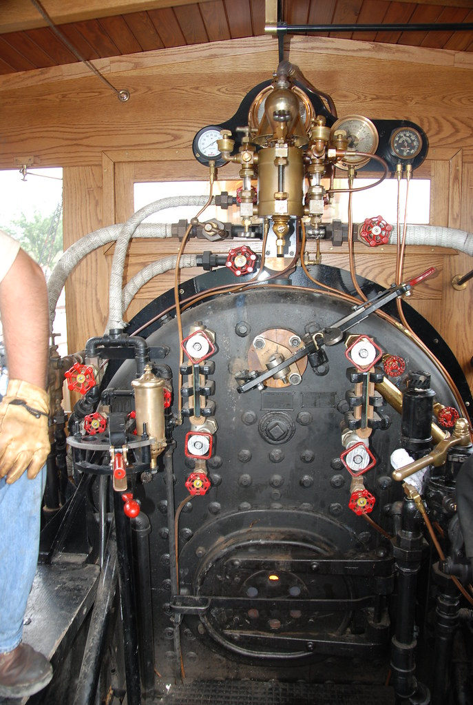 A view inside the cab -- Leviathan steam locomotive at Tra